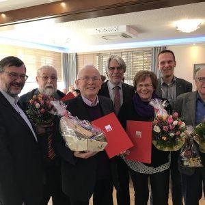 (v.l. Georg Fortmeier, MdL, Gerhard Büttner, Karl-Heinz Brameier, Hans Feuß, MdL, Magret Brameier, Patrick Schlüter, Horst Frolow)